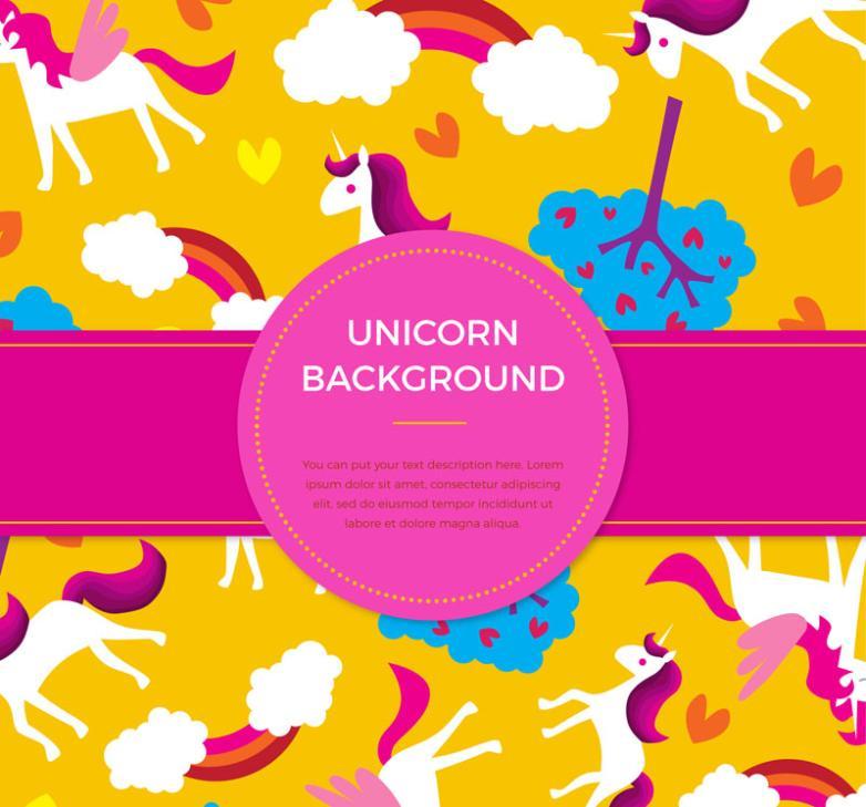Seamless Background Color Cartoon Unicorn Vector