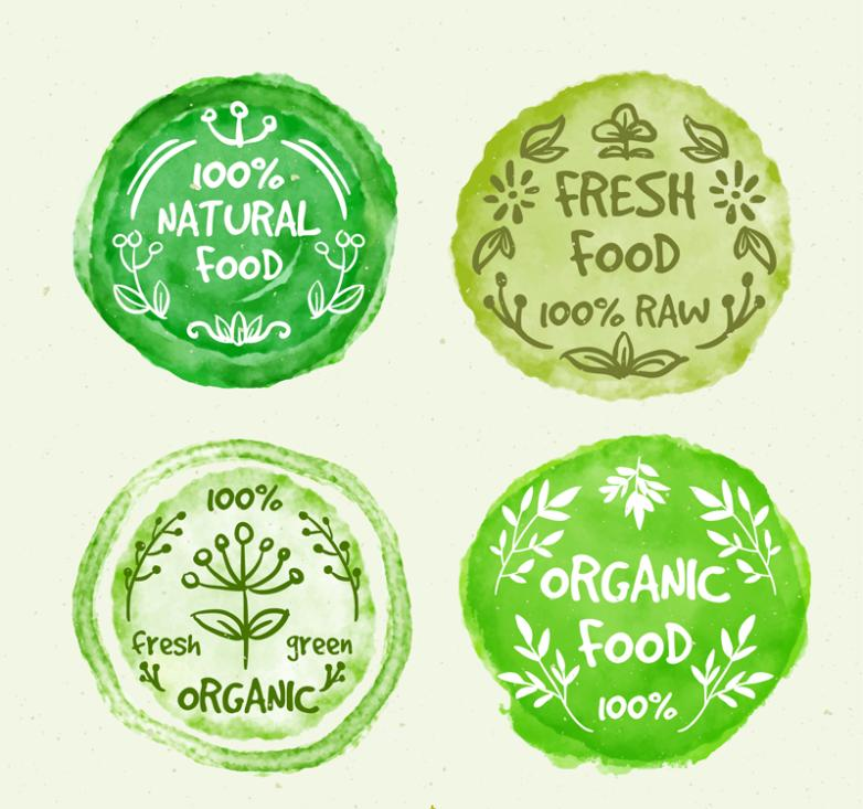 4 Green Water Paint Organic Food Badges Vector