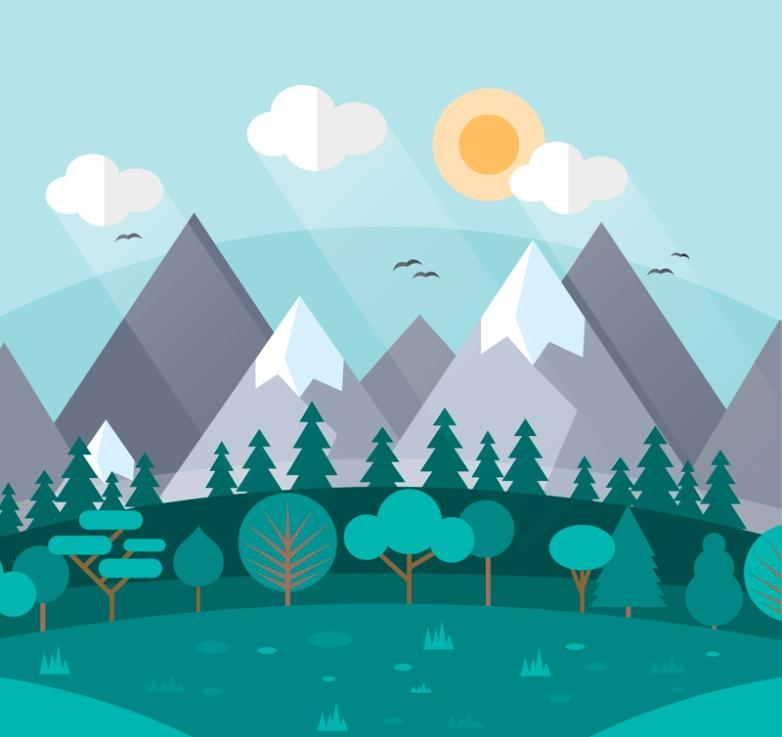 Flat Snow Mountain And The Forest Landscapes Vector