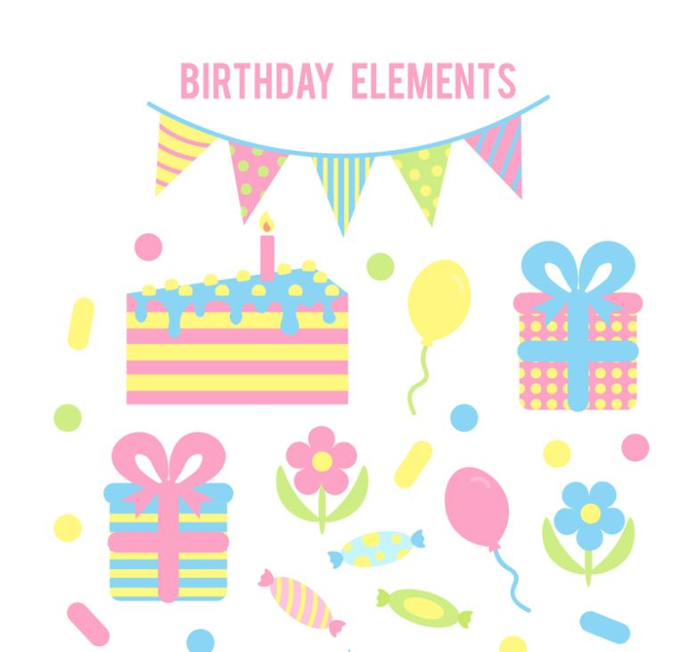 10 Color Element Of A Birthday Party Vector