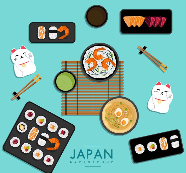6 Delicious Japanese Food Vector