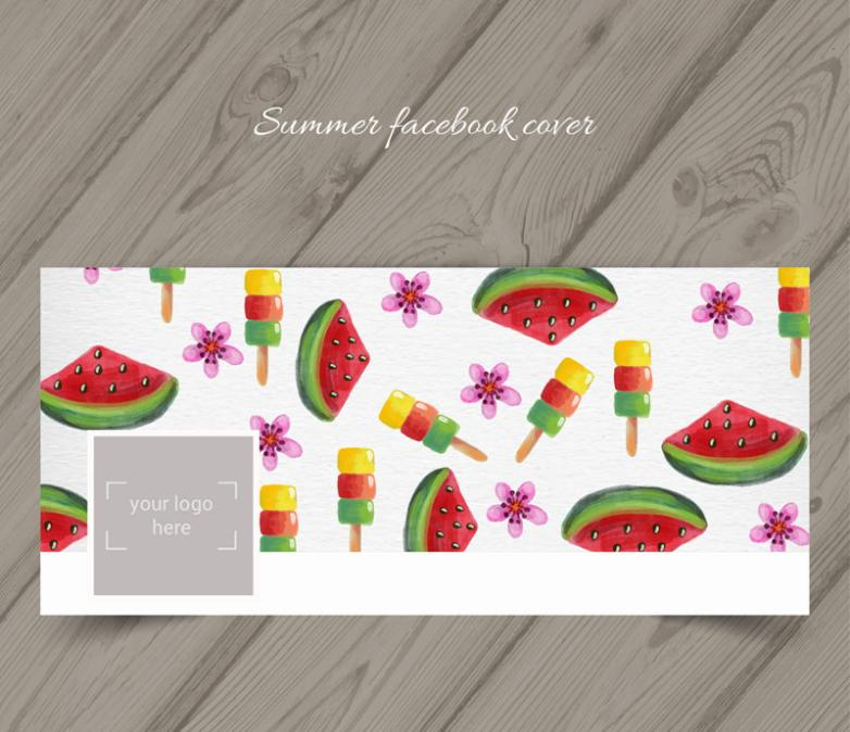 Face Book Cover Photo Watermelon And Ice Cream In Summer Vector