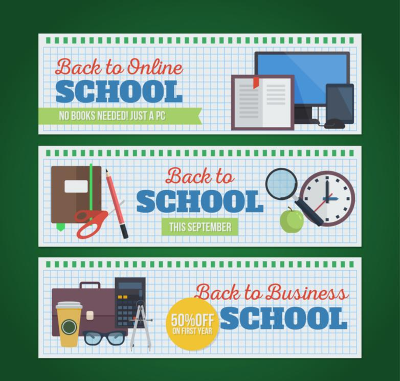 Three Fresh Banner Back-to-school Elements Vector