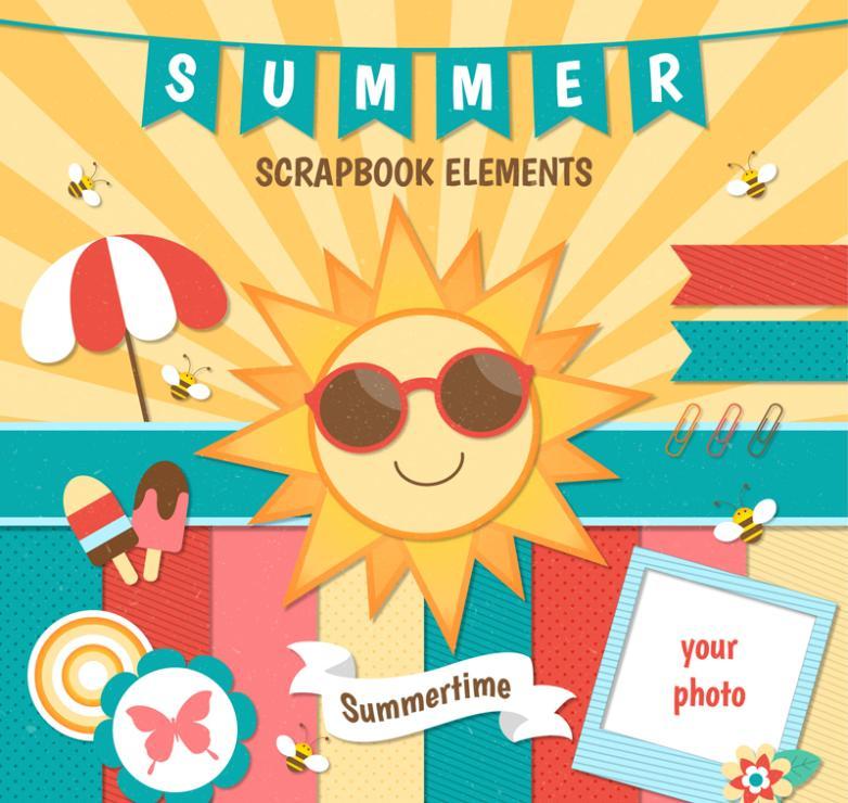 13 Summer Scrapbook Elements Vector