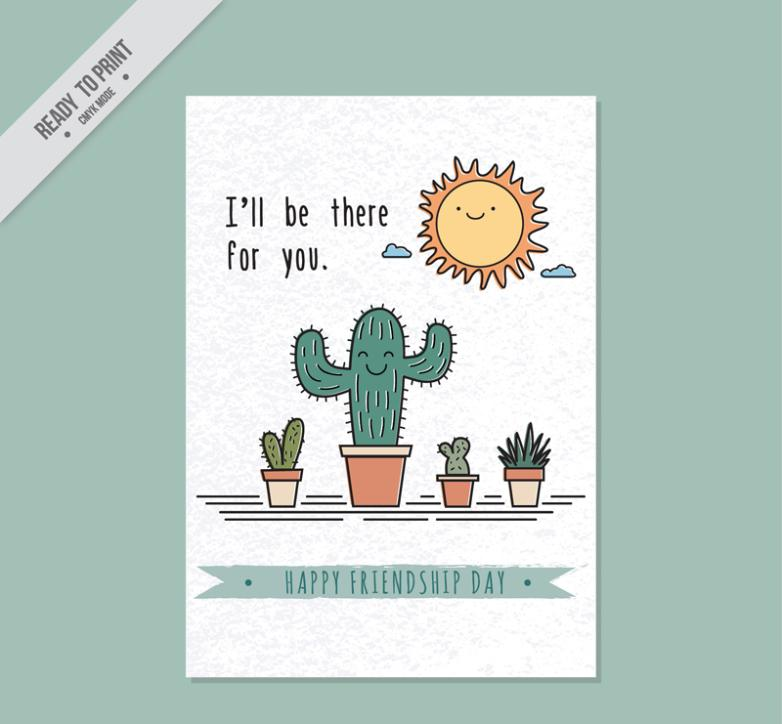 Lovely Cactus Potting Friendship Card Vector