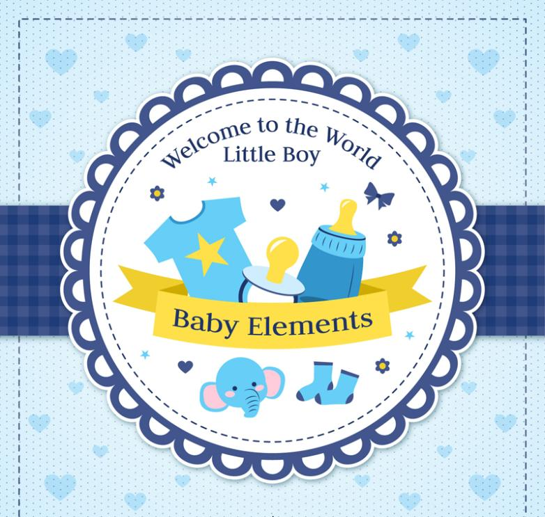 The Blue Baby Showers Card Design Vector