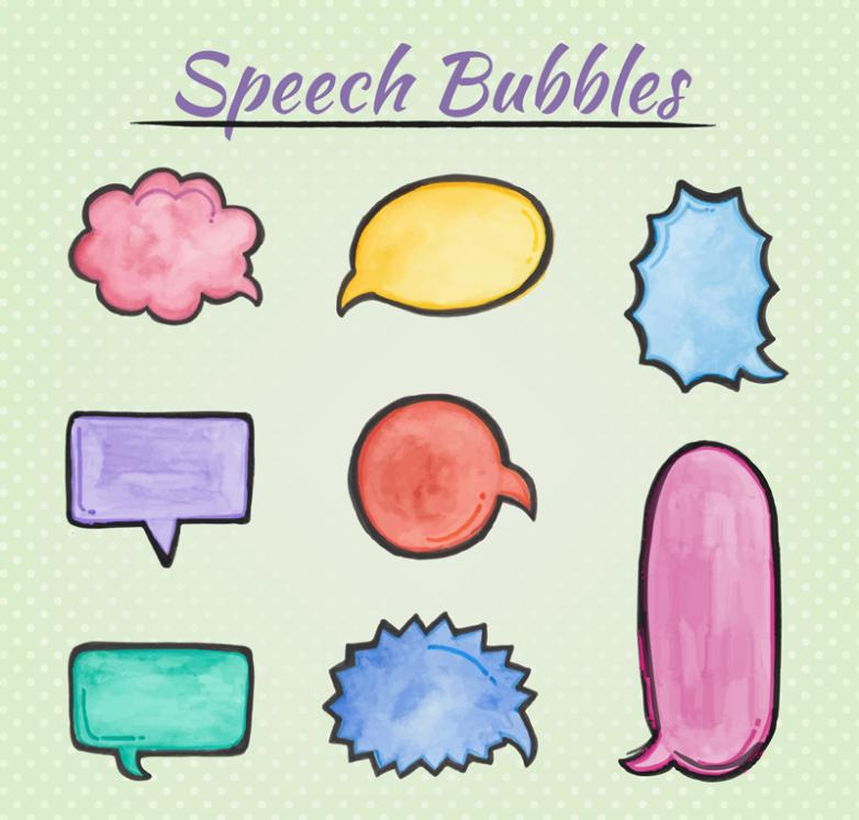 Nine New Coloured Drawing Or Pattern Speech Bubble Design Language Vector