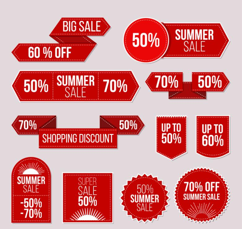 11 Red Summer Promotion Label Vector