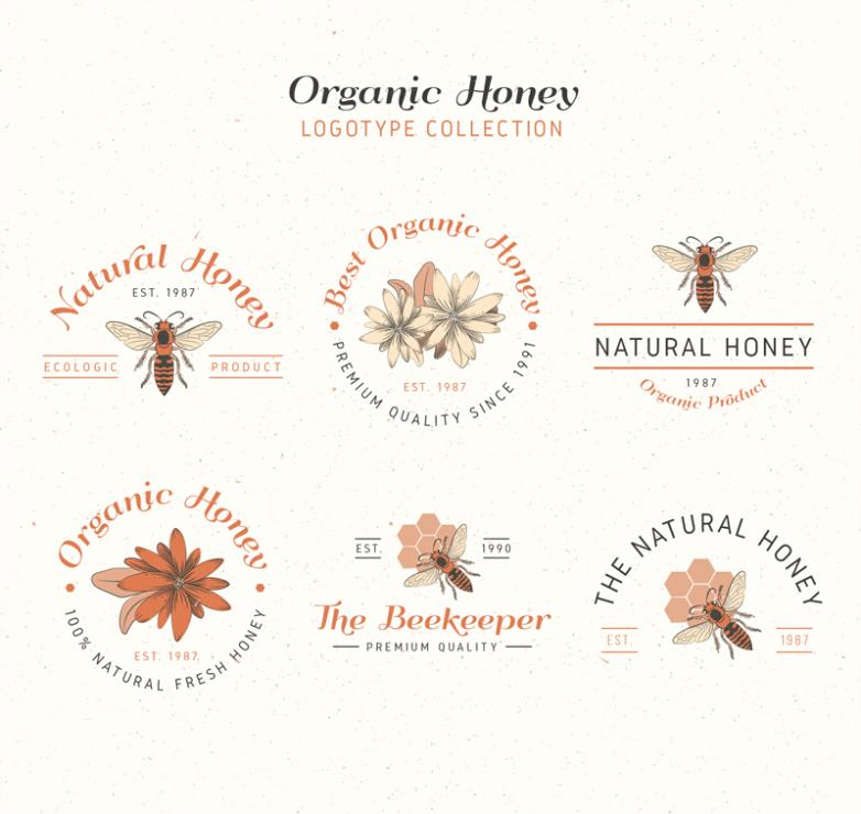 Six Hand-painted Organic Honey Vector