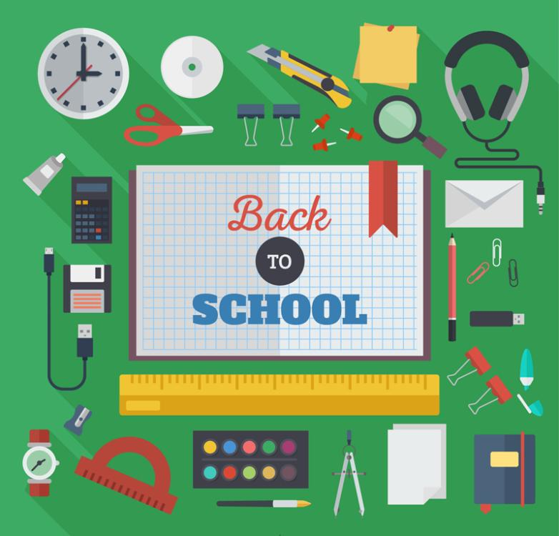 34 Flat Back To School Supplies Vector