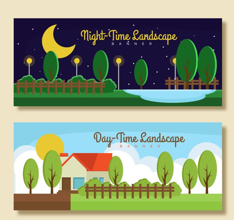 Two Day And Night Scenery Banner Vector
