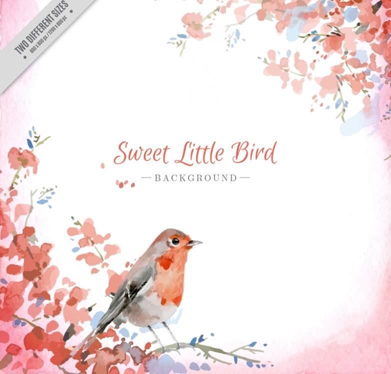 Lovely Watercolor Birds Vector