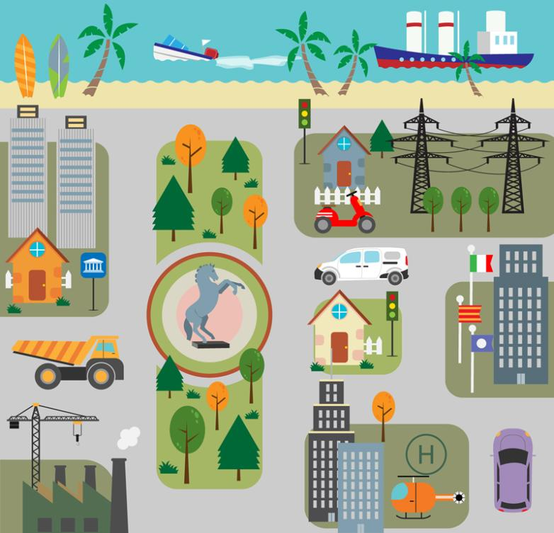 Creative Streets And Buildings Landscape By The Sea Vector