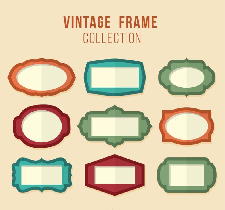 9 Retro Blank Frame Vector