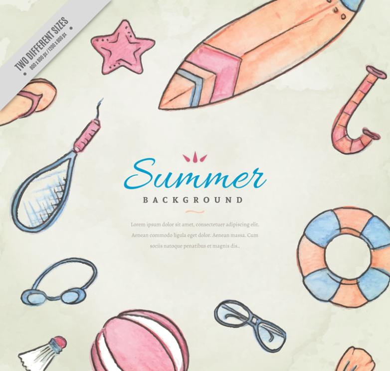 11 Summer Beach Vacation Coloured Drawing Or Pattern Elements Vector