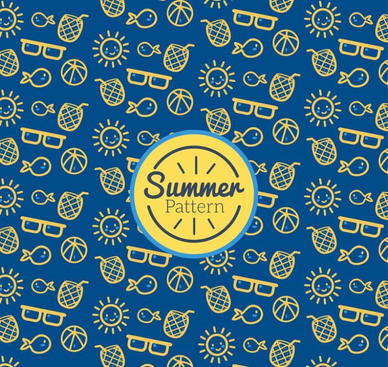 Lovely Summer Seamless Background Element Vector