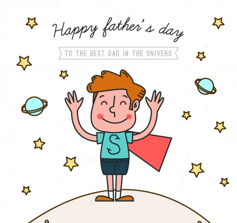 Cartoon Superman's Father's Day Cards Vector