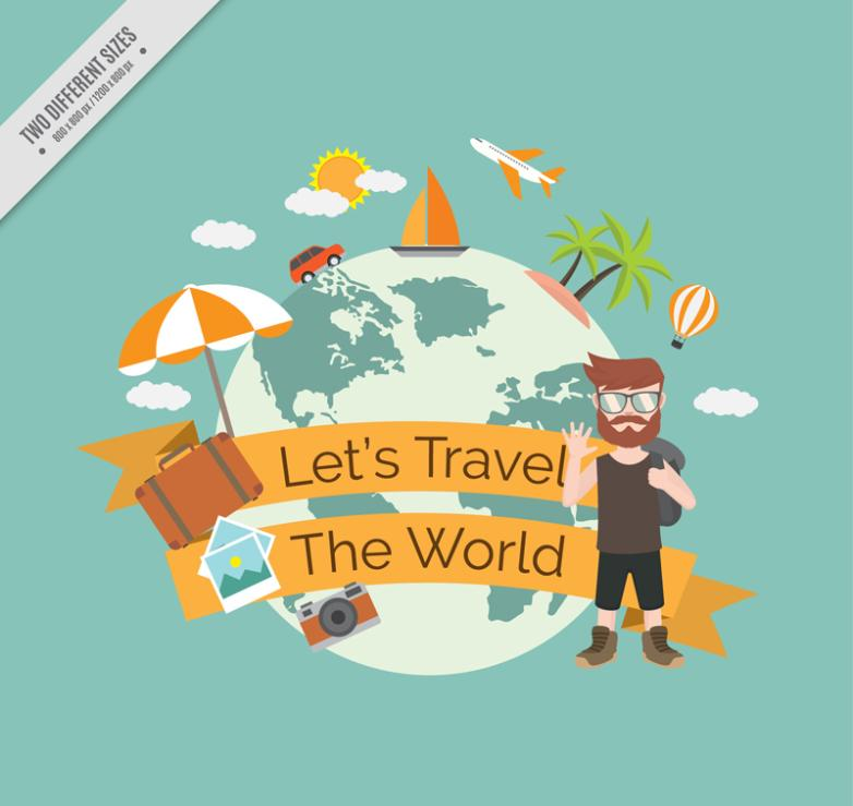 Backpack Man And The Earth To Travel Around The World Vector