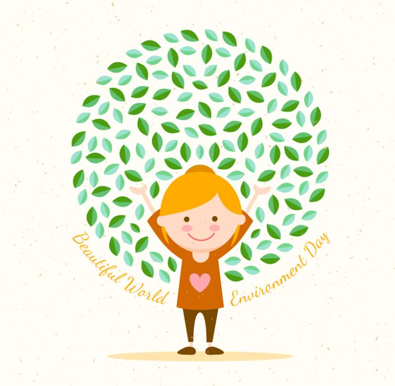 Girl Cartoon World Environment Day Greeting Card Vector
