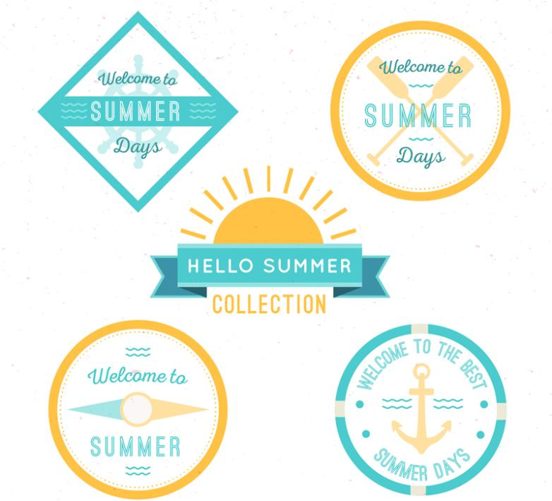 5 Fresh Summer Element Tag Vector