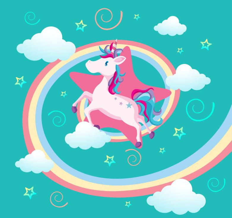 Cartoon Unicorn Between Cloud Vector
