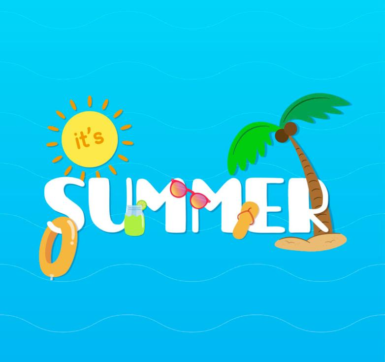 Creative Summer Summer Artistic Words Vector