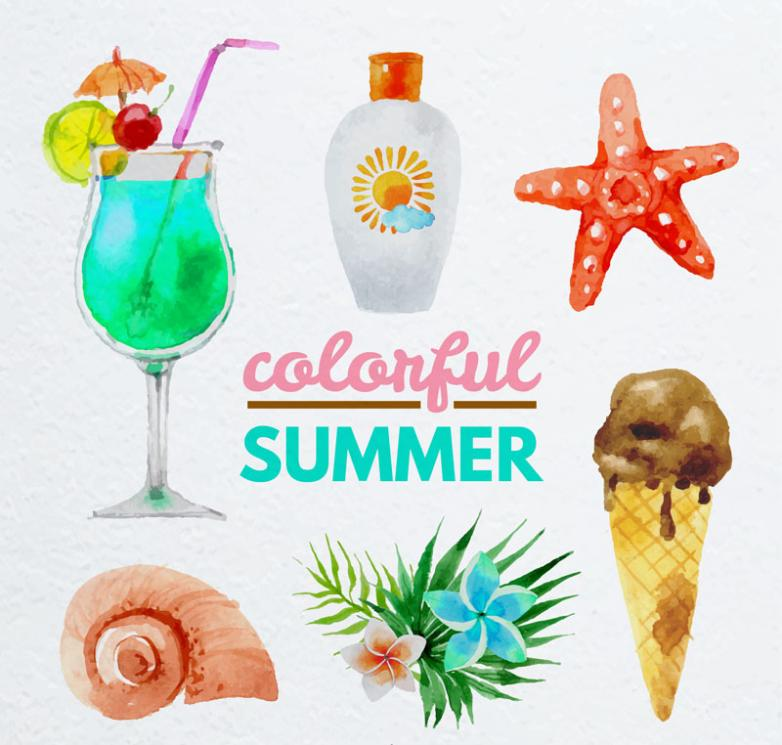 The Six Coloured Drawing Or Pattern Summer Water Vector