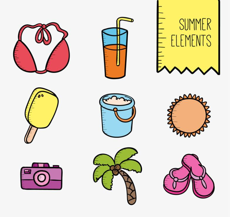 Eight Summer Beach Vacation Coloured Drawing Or Pattern Elements Vector