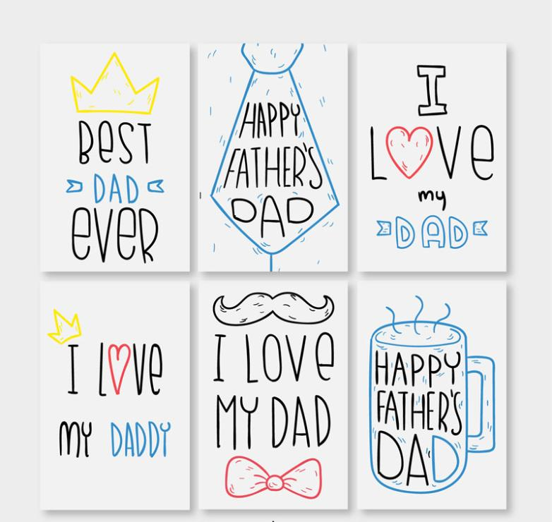 Six Coloured Drawing Or Pattern Is Father's Day Greeting Cards Vector