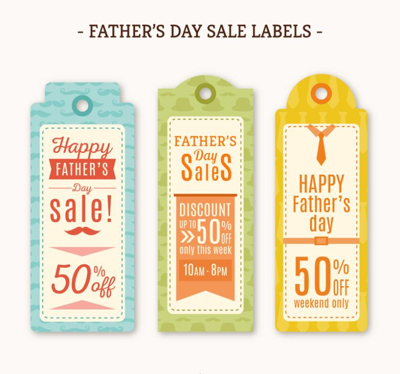 Three Color Promotion Tags Father's Day Vector