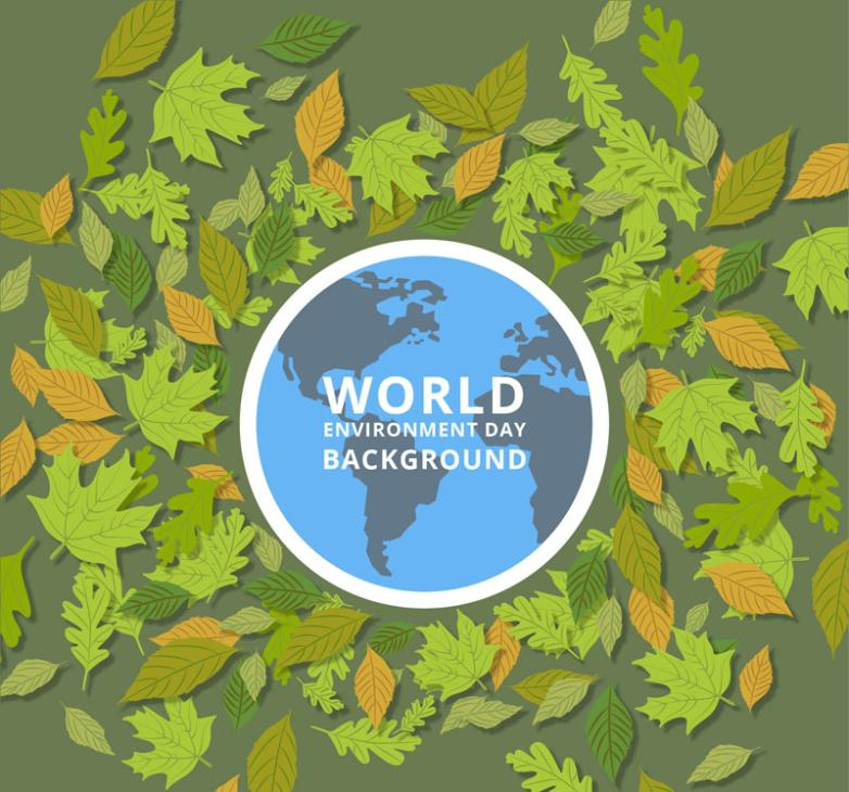 World Environment Day Cards Green Leaves Vector