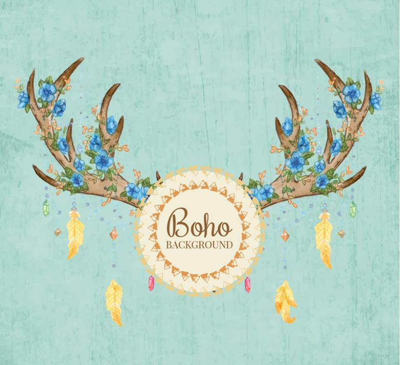 Antlers And Laden With Flowers Vector