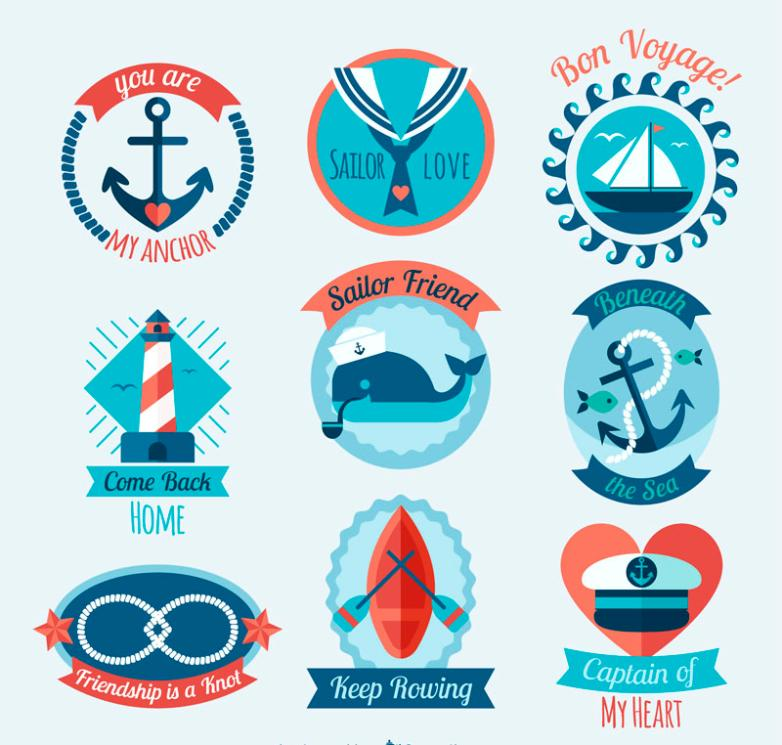Nine New Flat Navigation Label Vector
