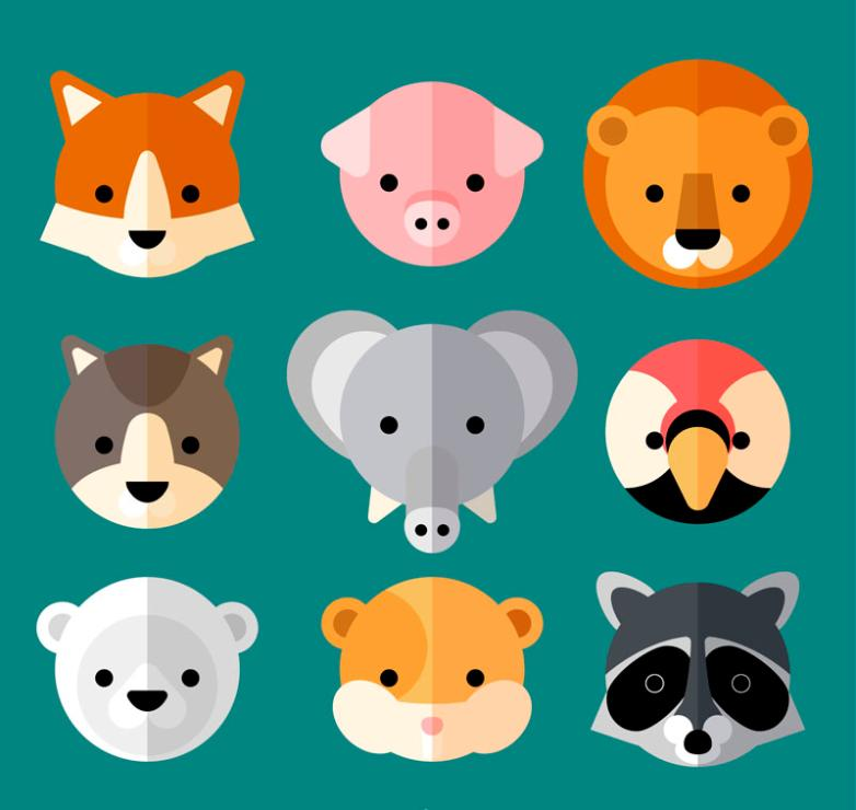 Nine New Flat Cute Little Animal Head Vector