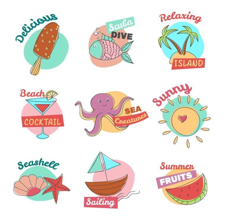 Nine New Summer Coloured Drawing Or Pattern Element Tag Vector