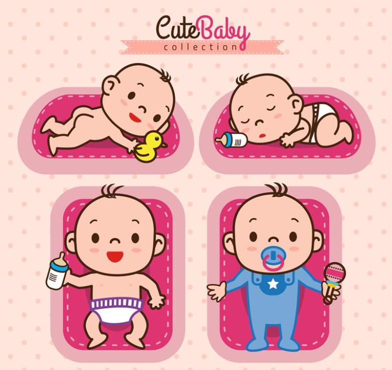 4 Lovely Infant Designs Vector