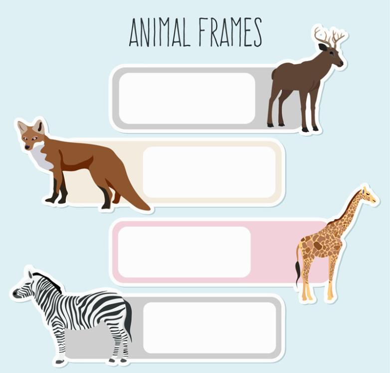 4 Creative Wildlife Blank Frame Vector