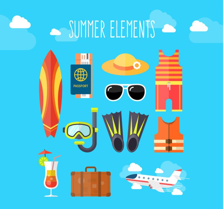 11 Elements Fine Summer Holiday Vector