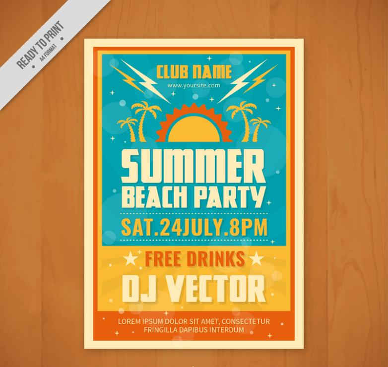 Color Summer Beach Party Flyer Vector