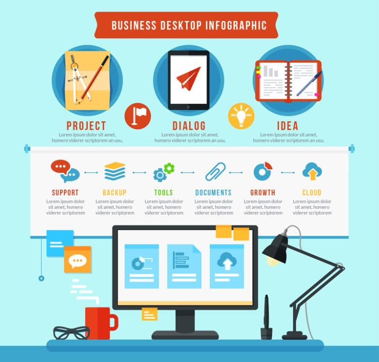 Color Business Office Desktop Information Graph And Icon Vector