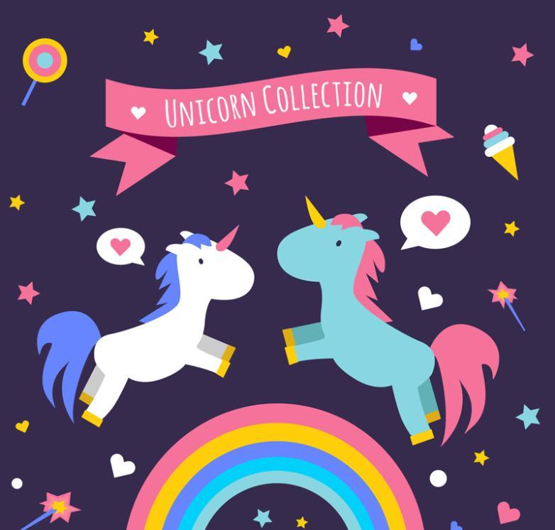2 Only Cartoon Unicorn Vector