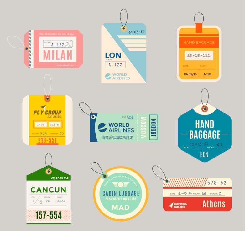 9 Color Luggage Tag Designs Vector