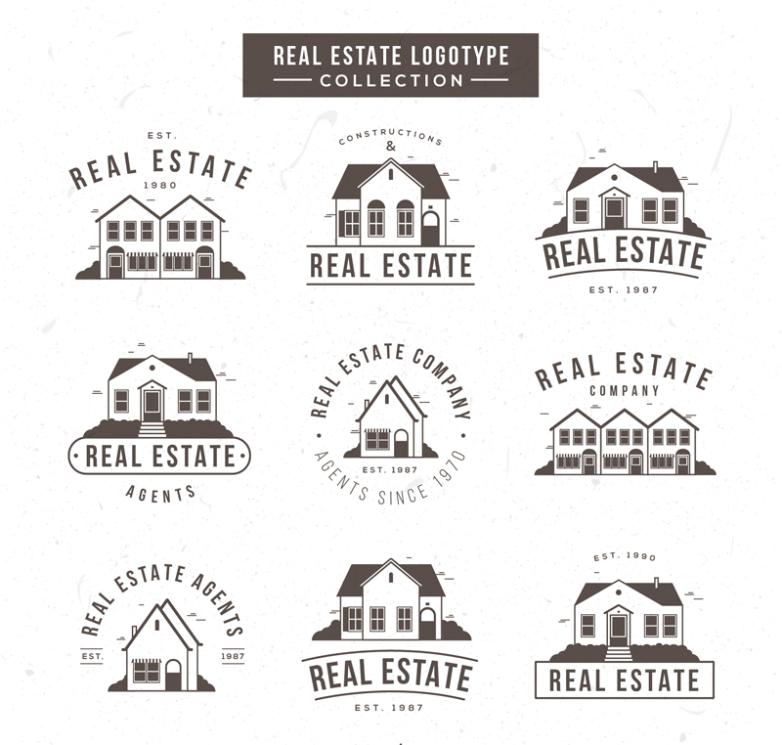 9 Black Real Estate Logo Vector