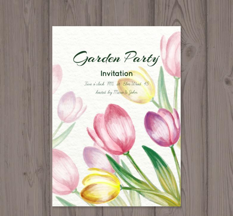 Water Painted Tulip Garden Party Invitation Card Vector