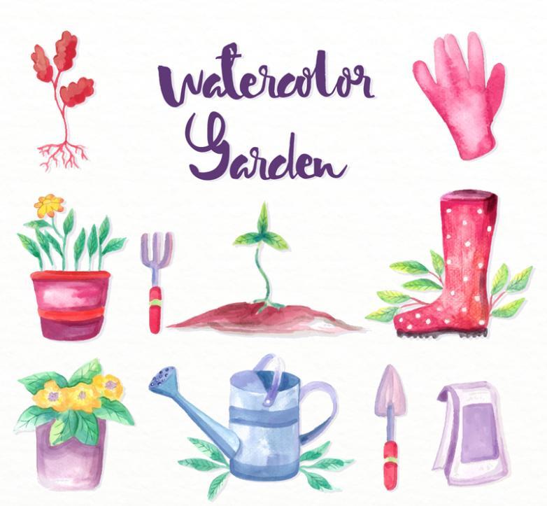 10 Water Paint Garden Elements Vector