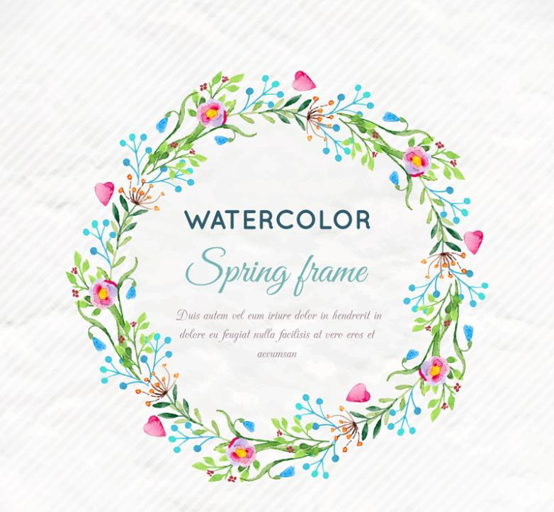 Coloured Drawing Or Pattern Clockwise Wreath Of Spring Water Vector