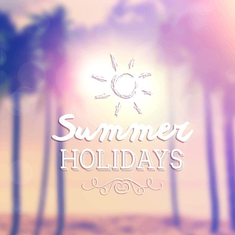 Summer Holiday Fuzzy Beach Scenery Vector