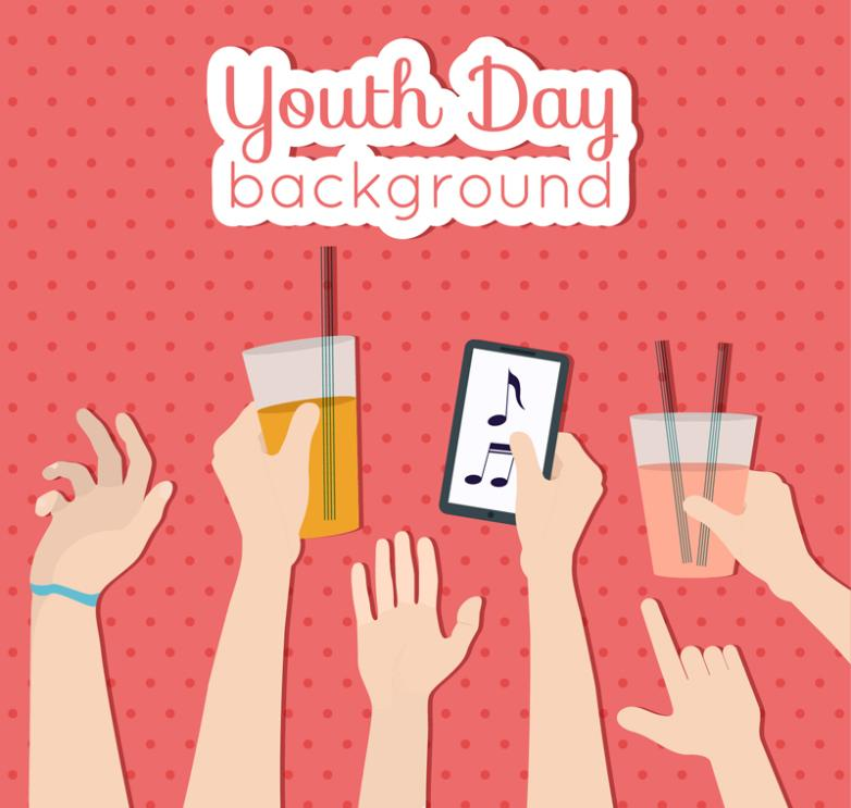 Creative Youth Day Crowd Arms Greeting Card Vector