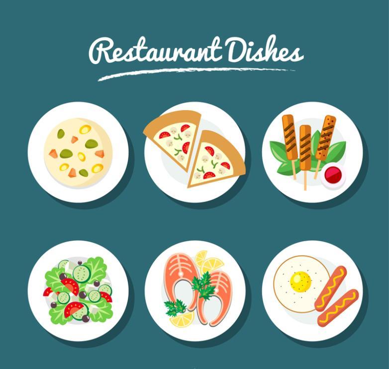 Six Delicious Food Restaurant Design Vector