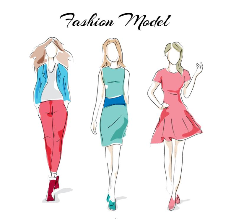 Three Coloured Drawing Or Pattern Is A Fashion Model Vector